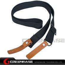图片 NB AK Rifle Sling Shotgun Strap Adjustable Webbing Sling With Leather Black NGA1311