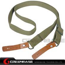 图片 NB AK Rifle Sling Shotgun Strap Adjustable Webbing Sling With Leather Olive Drab NGA1313