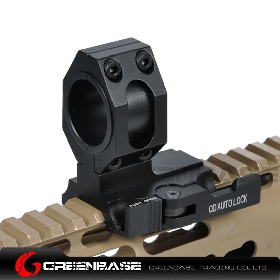 """Picture of NB Tactical Auto Lock Quick Detach 25mm/30mm Flashlight Scope Ring Mount 1"""" Of Forward Scope Position Picatinny Weaver Mount Black NGA1318"""
