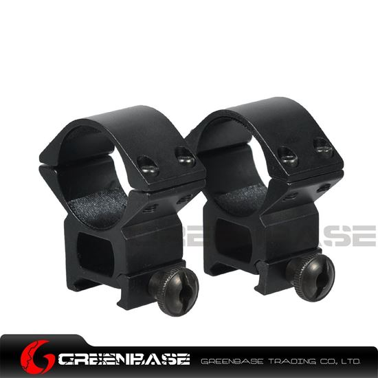 Picture of NB Tactical Medium Profile 30mm Scope Ring Mount Round Top Mount 20mm Picatinny Rail 2pcs Black NGA1435